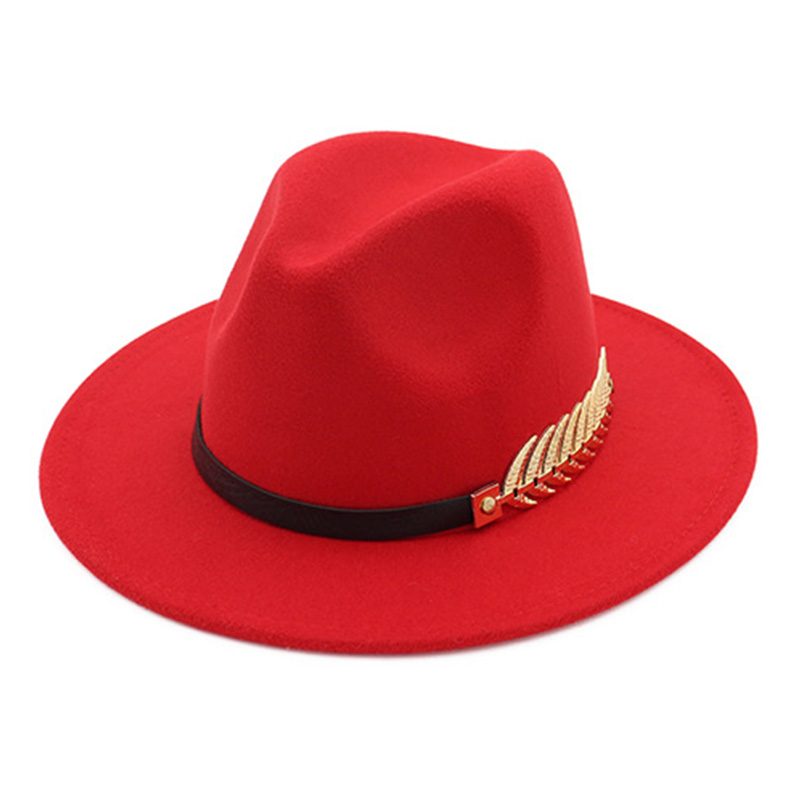 dff4865dc3e072 FS Wool Felt Hats Black For Women With Wide Brim Belt Church Men Jazz  Godfather Fedora
