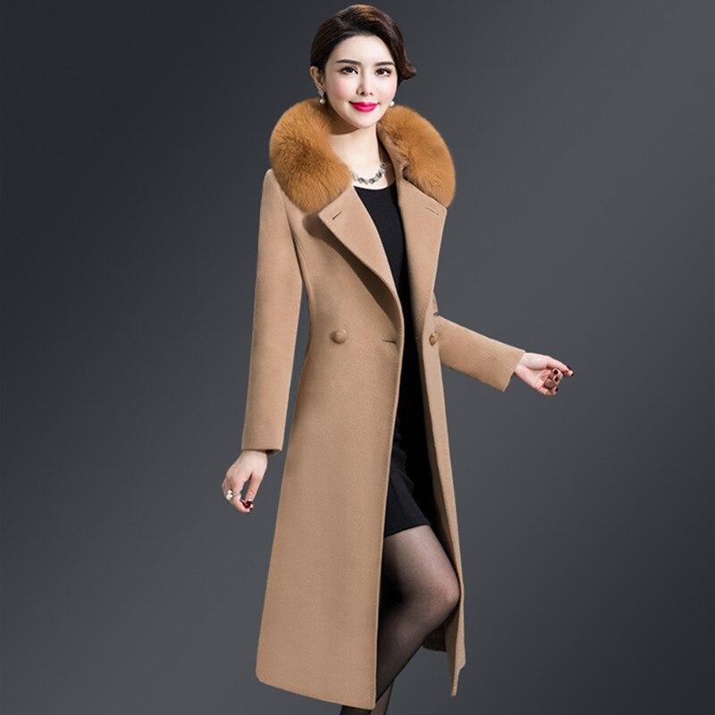 M 5XL Women Wool Blends Coat Winter Autumn 2019 Fashion Mother Fox Fur Collar Thicken Woolen