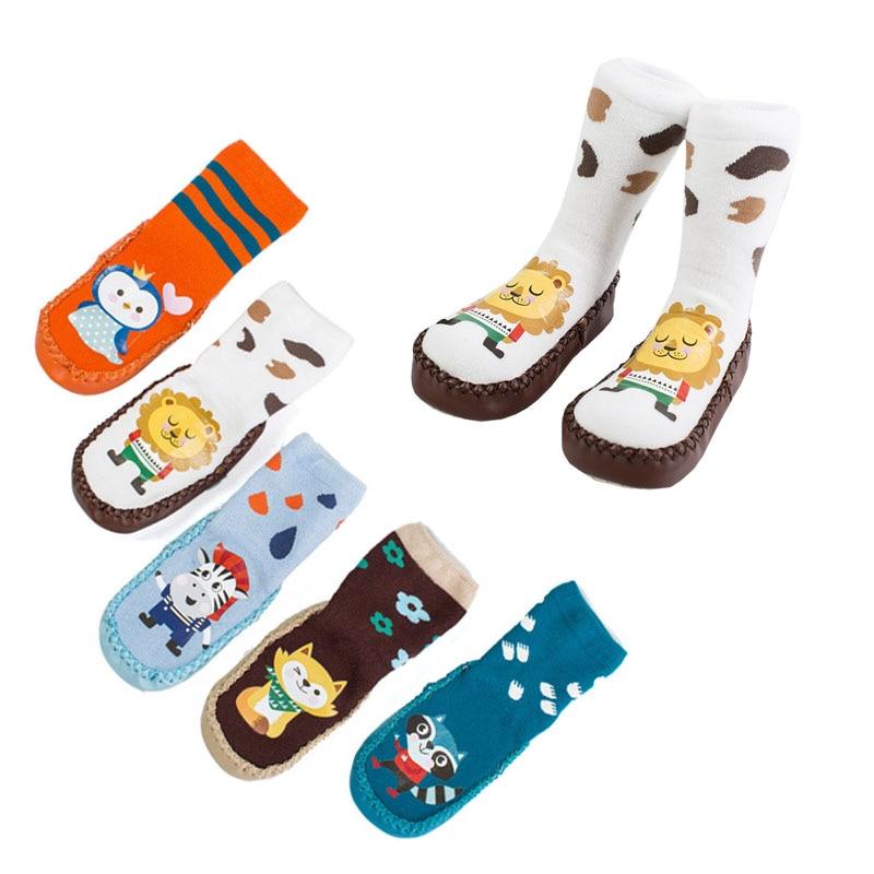 Новорожденные дети хлопок Antislip Обувь Носки для девочек Симпатичные носки для детей Для мальчиков и девочек крытый скольжению резиновая под