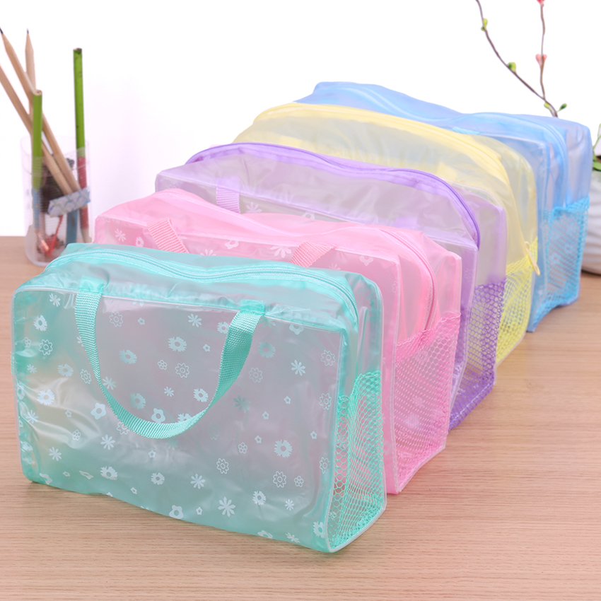 5 Colors Make Up Organizer Bag Toiletry Bathing Storage Bag Women Waterproof Transparent Floral PVC Travel Cosmetic Bag