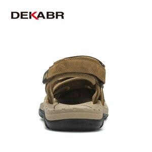 Image 3 - Мужские сандалии из воловьей кожи DEKABR, модная повседневная обувь цвета хаки, нескользящая пляжная обувь с резиновой подошвой, большие размеры 38 47, лето 2019