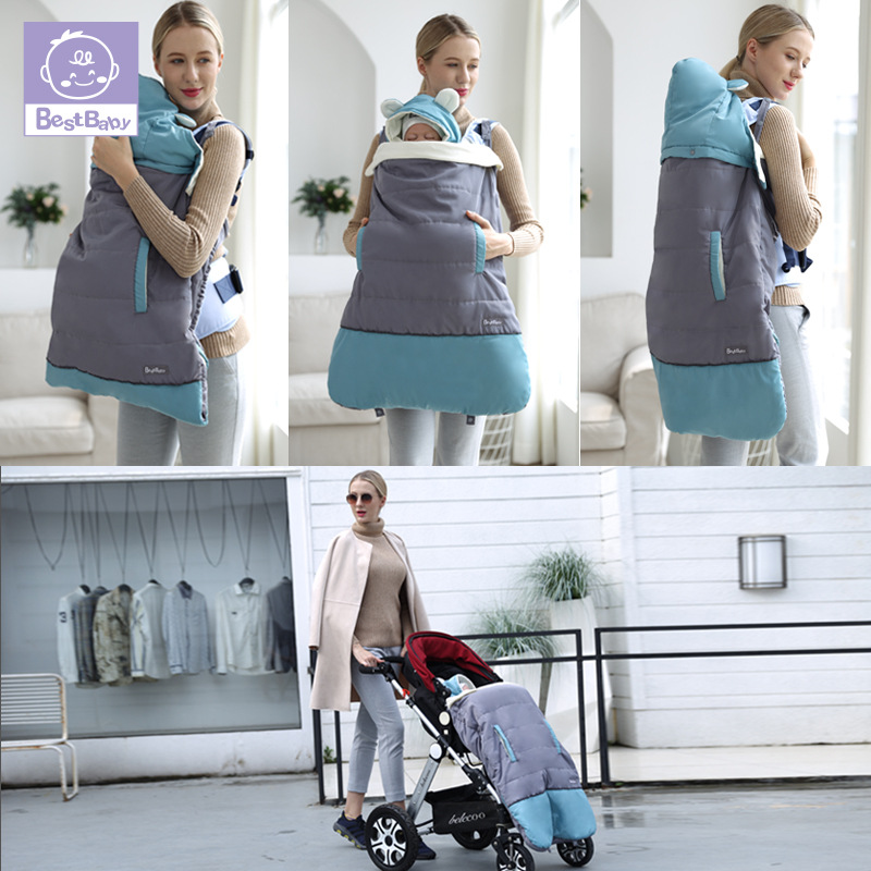 Best Baby Winter Baby Carrier Cloak Warm Cape Stroller Pram Cover Wind Rain Snow Proof With Baby Car Backpacks & Carriers