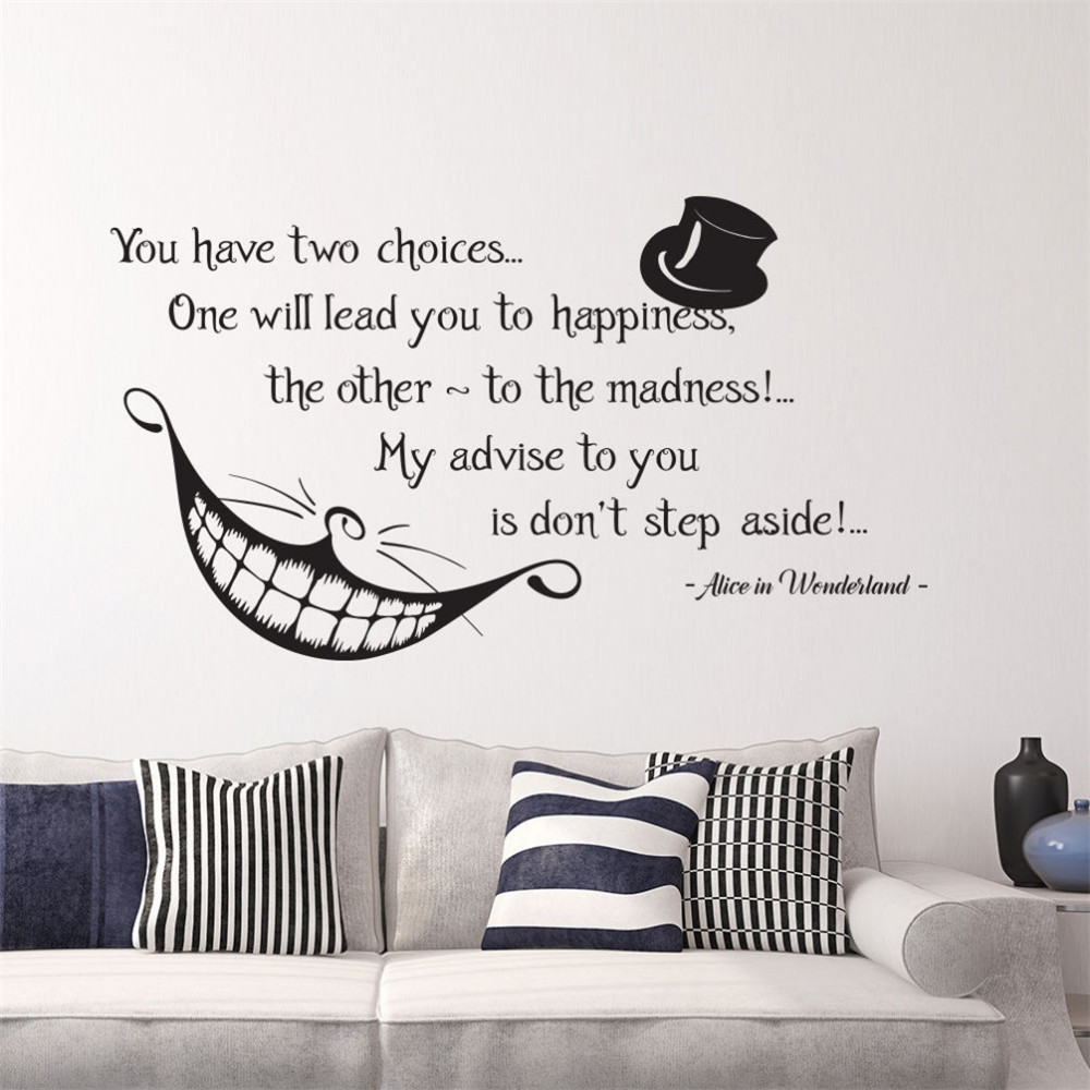 Alice nel paese delle meraviglie quote wall stickers decalcomanie sfondi camera da letto nursery - Wall stickers camera da letto ...
