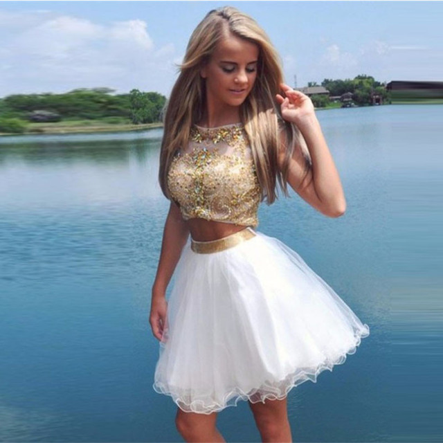 Luxury Crystal Rhinestone Two Pieces Gold Cocktail Dresses Sexy Backless Women Dress Ruffles Short Prom Dress