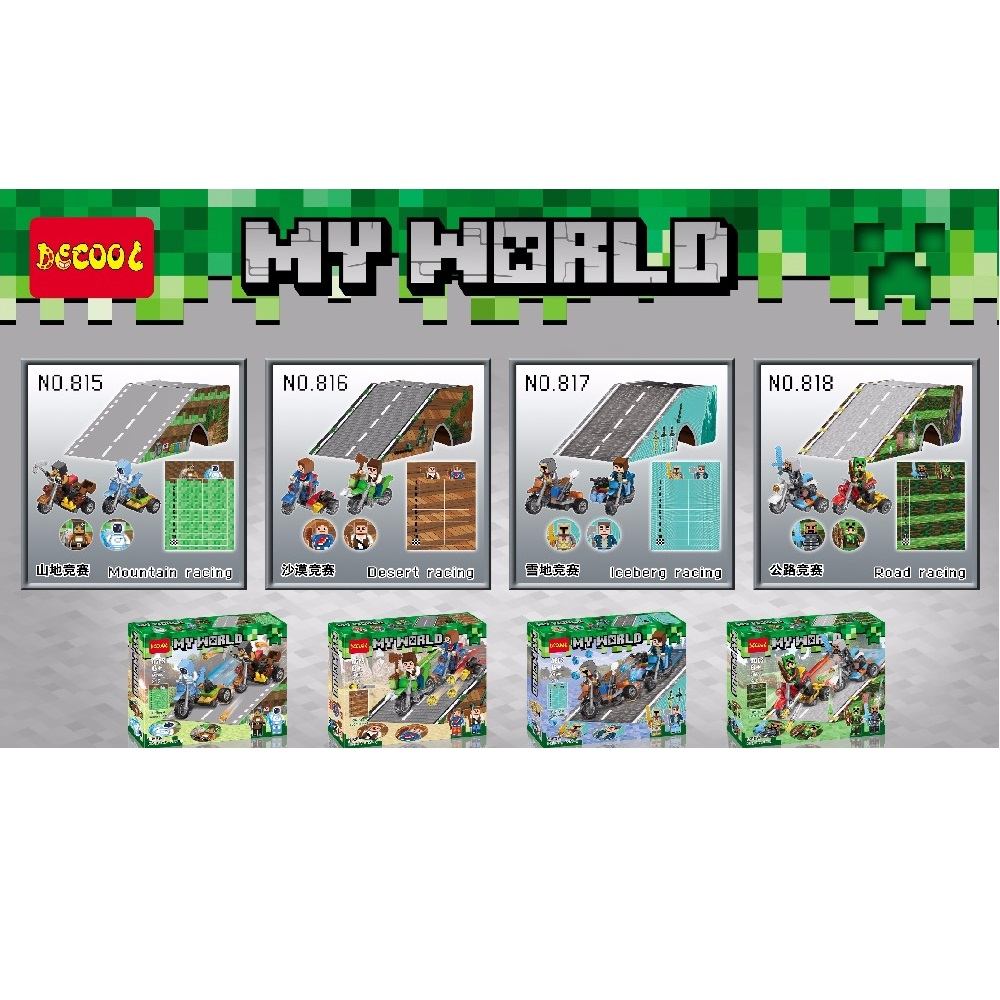 Decool 815-818 4pcs/lot My World Racing Minecrafted Building Block Legoings 3D DIY Figures toys for children educational