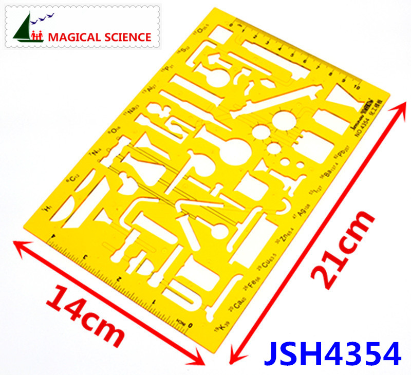 Plastic Chemical Templates Physical Chemistry Instruments Drawing Design Ruler For Students Flexible JSH4354
