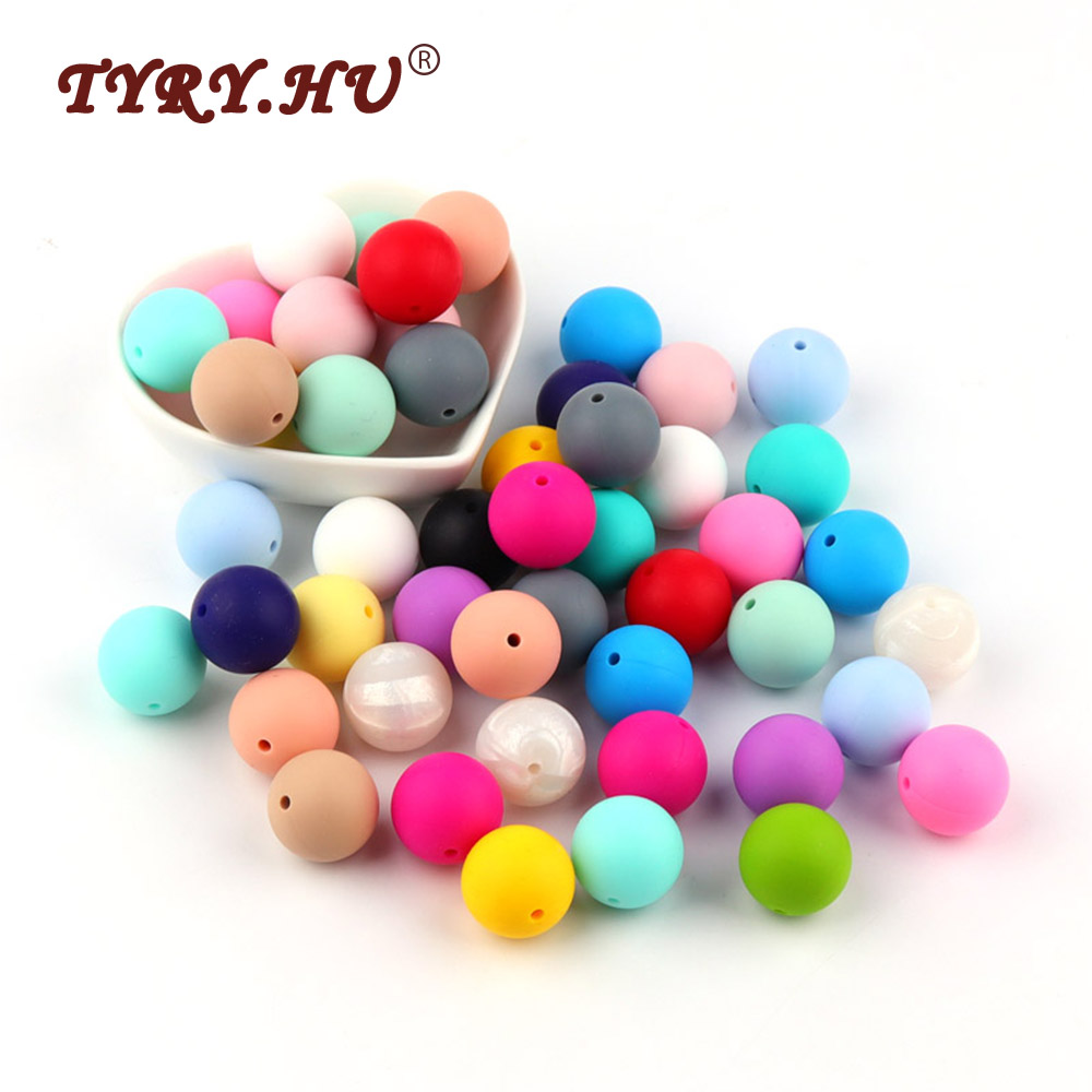 TYRY.HU 10Pcs Silicone Baby Teething Beads Natural 19mm Round Beads BPA Free Baby Teethers Baby Tooth Nursing Toys Silicone Ball