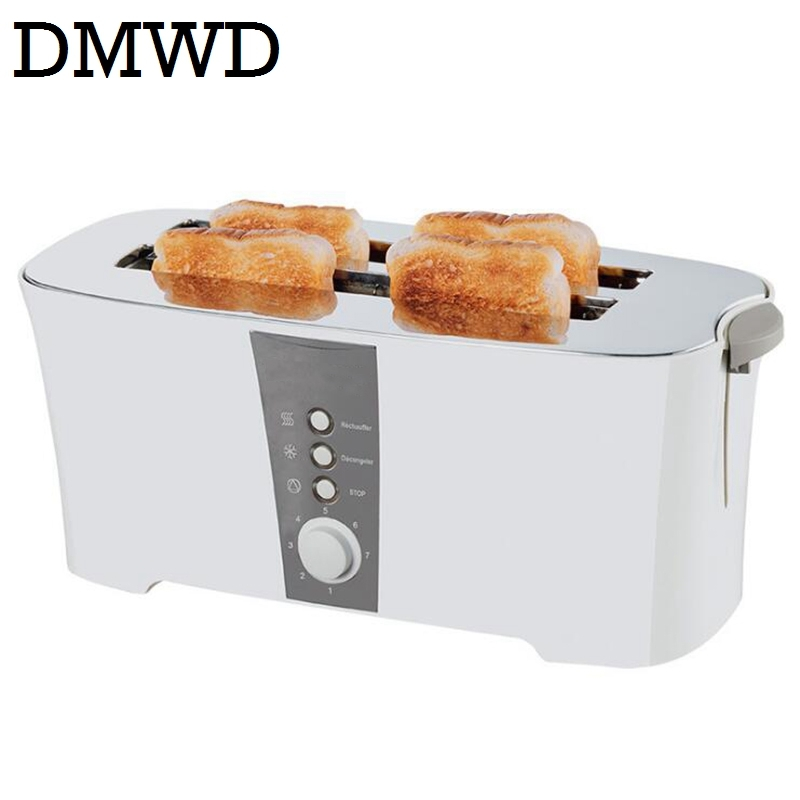 DMWD 4 pcs slots automatic baking toaster Multi-function toast oven bake breakfast machine bread maker 4 SLICE 220V-240V EU plug dmwd mini household bread maker electrical toaster cake cooker 2 slices pieces automatic breakfast toasting baking machine eu us