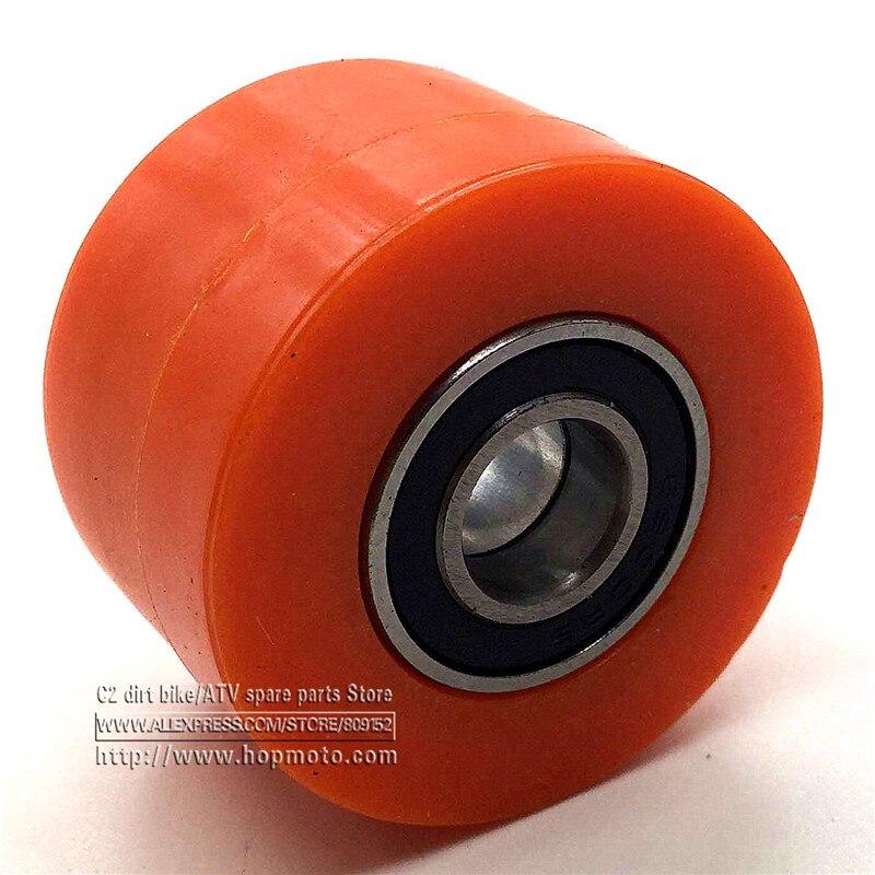 8mm Or 10mm Drive Chain Pulley Roller Slider Tensioner Wheel Guide For Pit Dirt Street Bike Motorcycle Atv KTM Orange colour