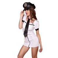 Sexy Airlane Tiếp Viên Costume Woman Vai Trò Chơi Cảnh Sát Cosplay Costume Lady Erotic Hộp Đêm Chặt Váy Đồng Phục Trắng