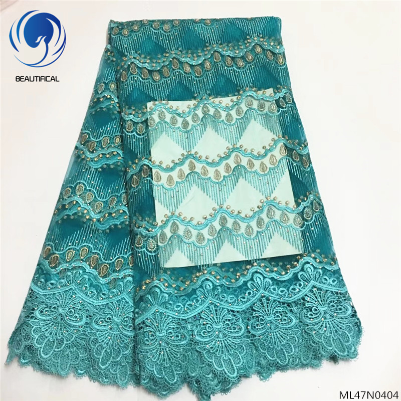 BEAUTIFICAL african lace fabric wedding fabric embroidery lace fabric tulle with cord guipure lace fabric 5yards/lot ML47N04