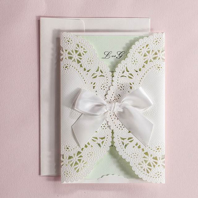 Spring Mint Wedding Invitation Lace Cards Embossed Invites Print Customized Wording