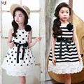 2016 Summer Korean Children's Clothing Girls Corsage 2pcs Flowers Lace Wave Point Stripe Vest Dress Kids Polka Dot
