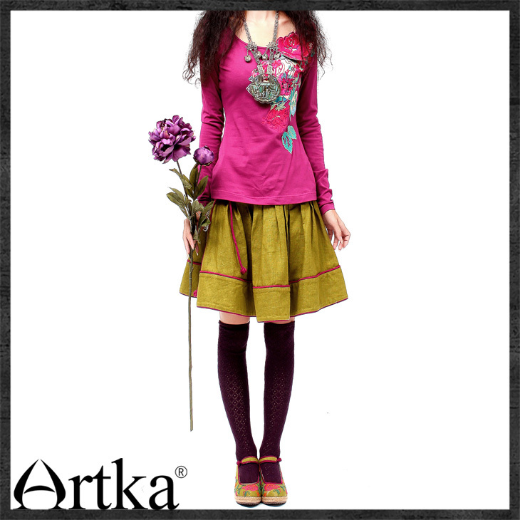ARTKA 2018 Autumn Hot Cotton Three Dimensional Applique Embroidered Long Sleeve  Skin Friendly Cotton T Shirt  SA10632C-in T-Shirts from Women's Clothing    3