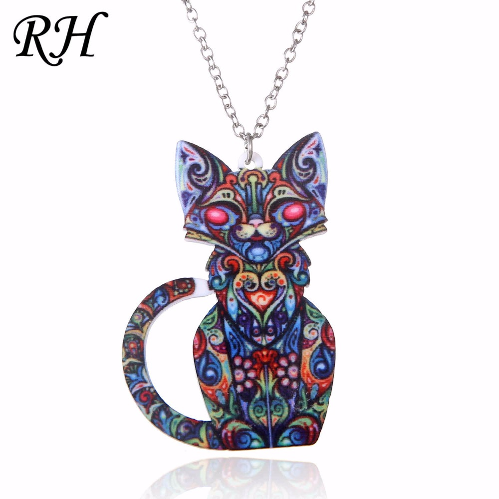 Acrylic Animal Necklace Pet Cat Necklace Women Bohemia