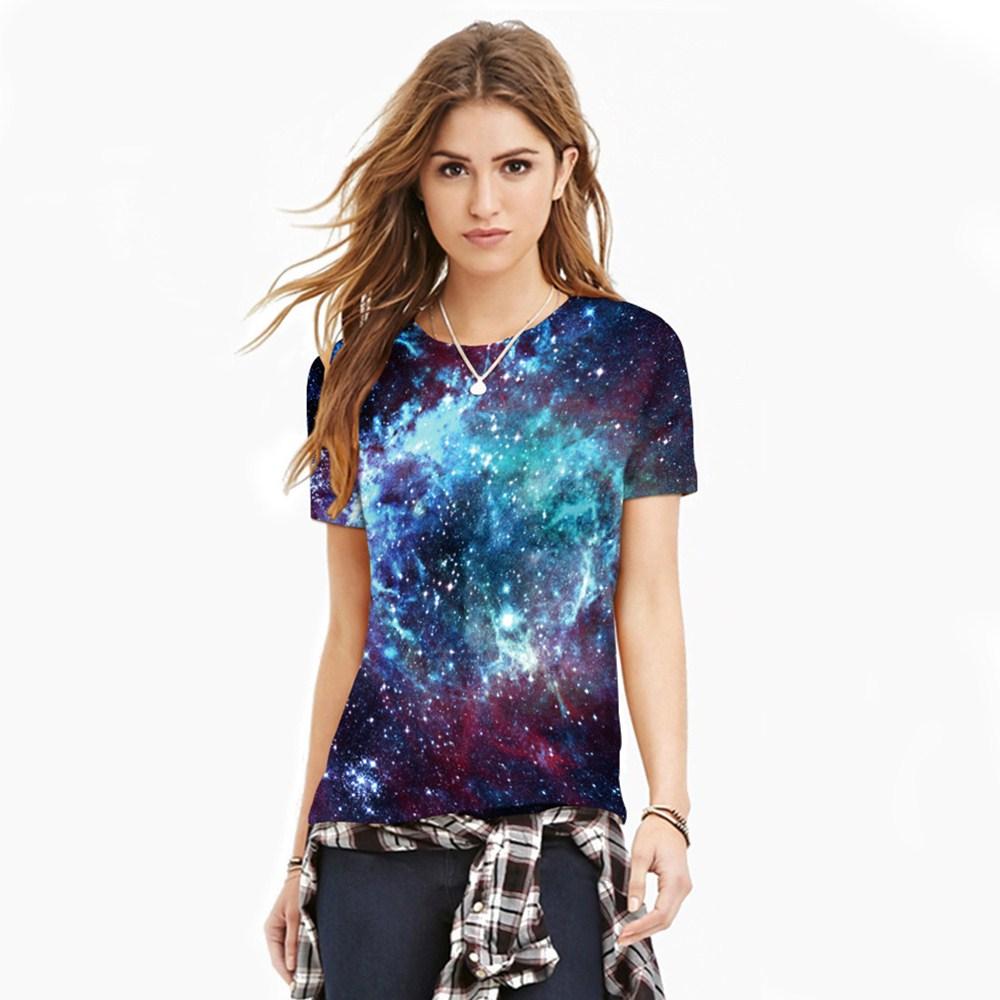HTB1fI6FQXXXXXcZXVXXq6xXFXXXp - T-shirt blue sky digital print 3D short-sleeved women's shirt