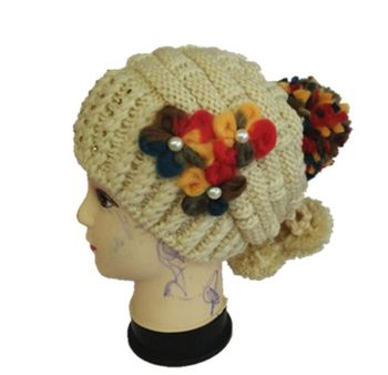 Winter rithinstone Baggy Crochet Beanie Hats Skull Caps hat tamhat barret Handmade Womens mixed colors 11pcs/lot #3450