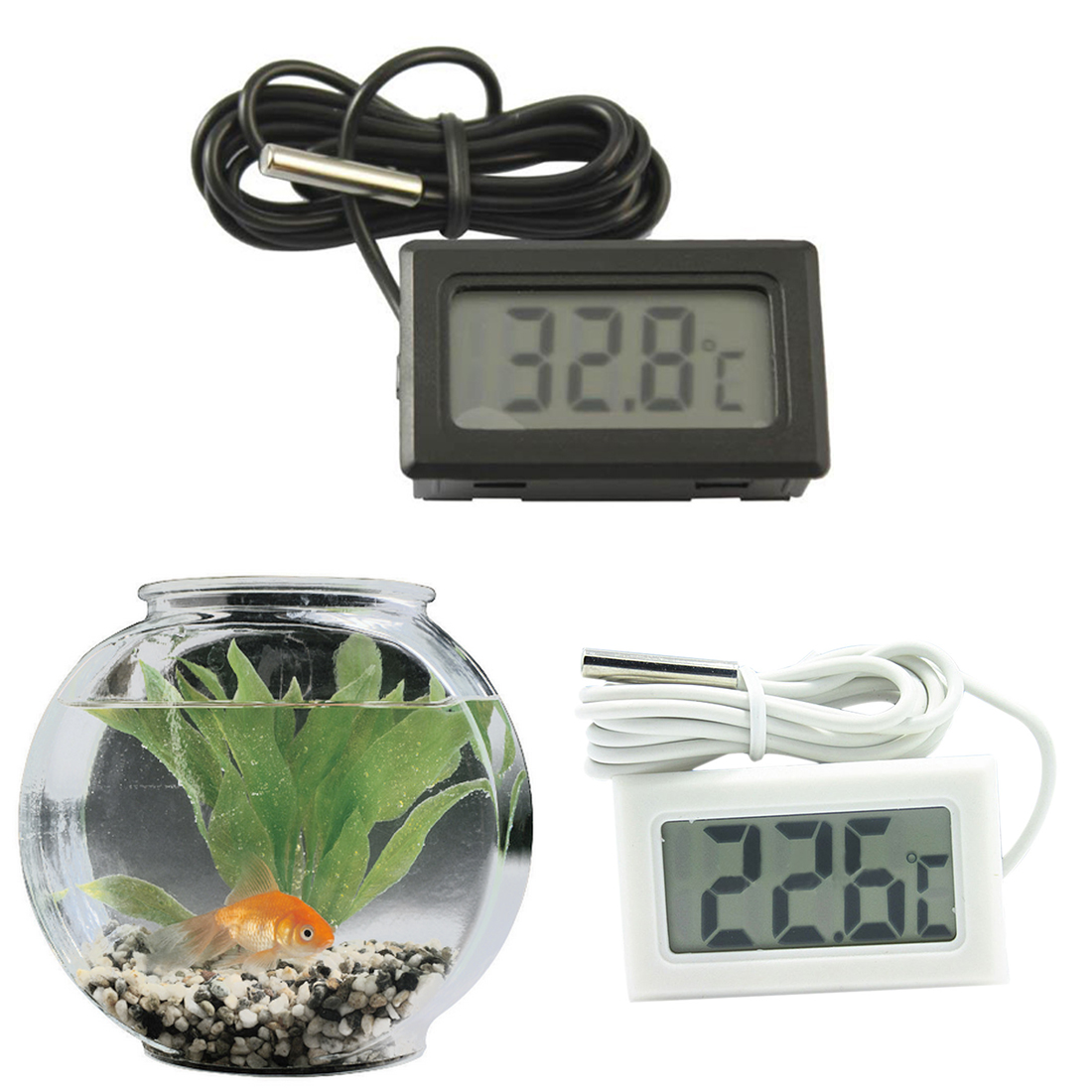 -<font><b>50</b></font> to 110 Digital Thermometer Mini LCD Display Meter Fridges Freezers <font><b>Coolers</b></font> Aquarium Chillers Mini 1/2M Probe Instrument image
