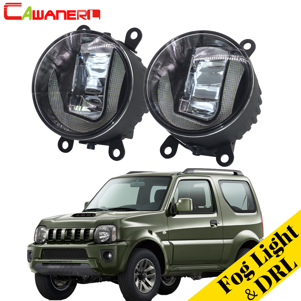 все цены на Cawanerl For Suzuki Jimny FJ Closed Off-Road Vehicle 1998-2014 2 Pieces Car Accessories LED Fog Light DRL Daytime Running Lamp