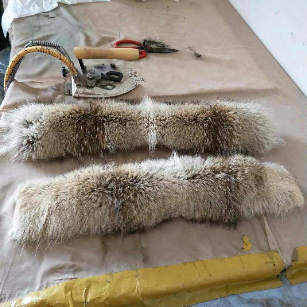 70*15 cm coyote fur collar / fur trim with fur coat hood collar