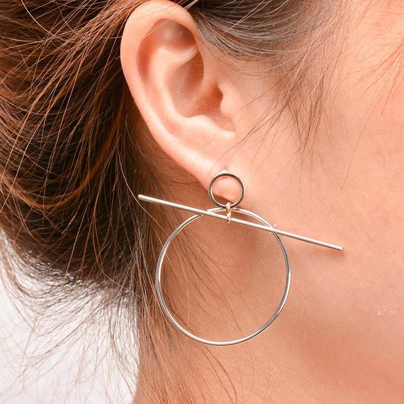 ยุ้ยเรขาคณิตวงกลม Hoop ต่างหูสำหรับผู้หญิง Vintage Cross รอบหูหยด Pendientes Brincos 6B3009