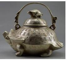Chinese Beautiful Collectible Decorated Old Handwork Tibet Silver Carved Big Tea Pot Tibetan decoration bronze outlets