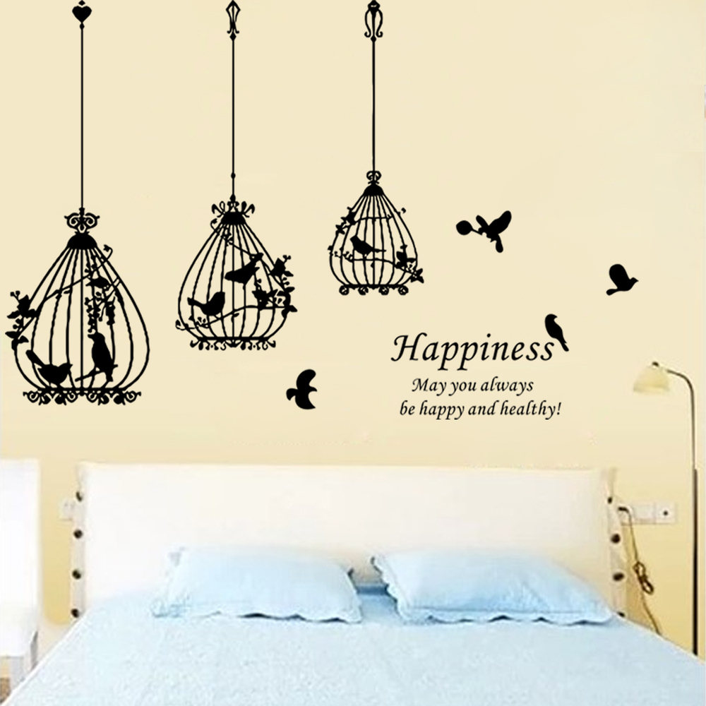 vinyl bird cage wall sticker home art decor used for living room   interior design
