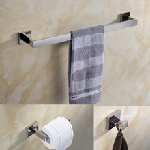 "3 Piece Bathroom Set 24"" (60cm) Length Square Wall Mounted Stainless Steel Single  Towel Bar Robe Hook Paper Holder"