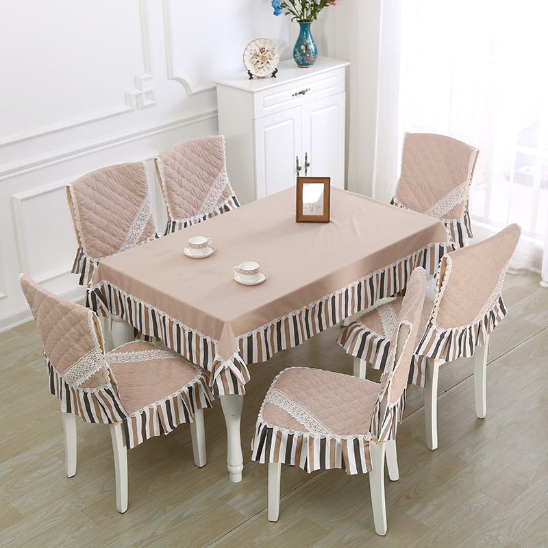 9pcs set European Style Modern Wedding Tablecloth Set Quality Table Cloth Chair Cover For Kitchen Dining