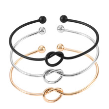 Модные парные очаровательные браслеты с открытым узлом, браслеты для женщин и мужчин, для влюбленных, серебряные, золотые, унисекс, ювелирные изделия, вечерние, подарок