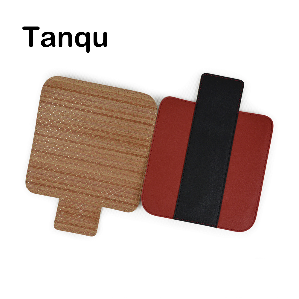 TANQU T-shaped Wood Grain Contrast Color PU Leather Flap Cover Lid Clamshell with Magnetic Lock Snap Fastener for Obag O Pocket contrast pu grommet detail dress with necklace
