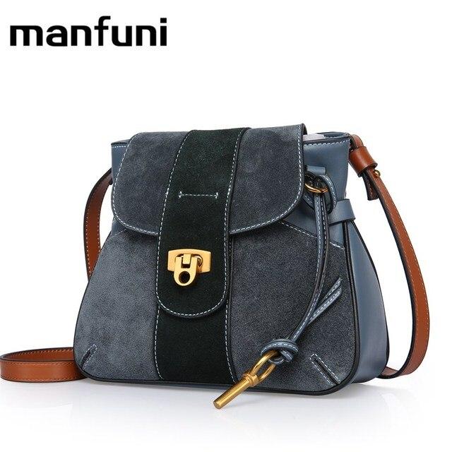 3f66449349 MANFUNI Women Female Messenger Bags Velvet Patchwork genuine leather Brand  Mini women bag Cross body Bags 0849