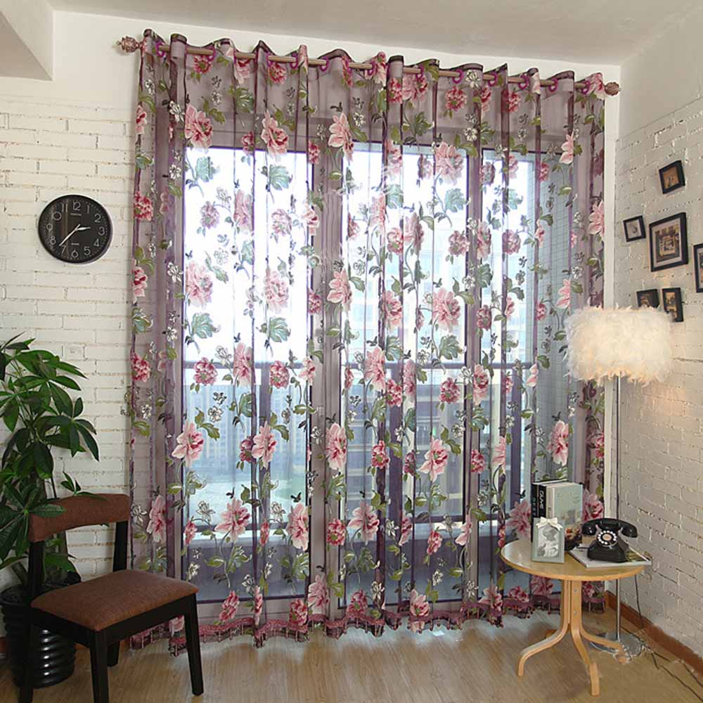 Burnout Home Textile Peony Flower Chinese Luxury 3D Window Curtains Fabric Tulle Sheer For Bedroom