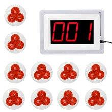 Беспроводной Пейджер Coaster Вызова Ресторан Подкачки Система с 1 Дисплей Хозяина + 10 Таблица Белл Кнопку Пейджер Ресторанного Оборудования F4421(China (Mainland))