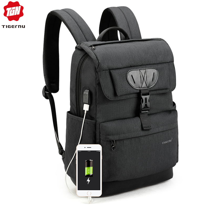 Tigernu Fashion Women Red Usb Recharging School Bag Backpack For Teenagers Gilrs Anti Theft Female Male Mochila 15.6 Laptop Bag