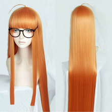 P5 Persona5 Futaba Sakura 100cm Long Straight Citrus Orange Heat Resistant Cosplay Costume Wig + Track + Cap
