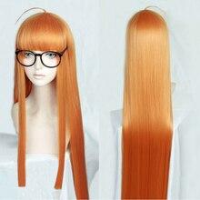 Peluca de disfraz de Futaba Sakura P5 Persona5, larga, recta, naranja cítrica, resistente al calor, para Cosplay, pista y gorra, 100cm