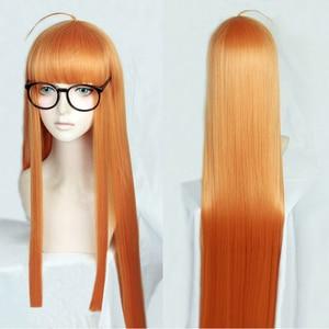 Image 1 - Perruque de Costume de Cosplay, perruque + piste + capuchon, lisse et longue de 100cm, P5 Persona5 Futaba Sakura, Orange résistante à la chaleur