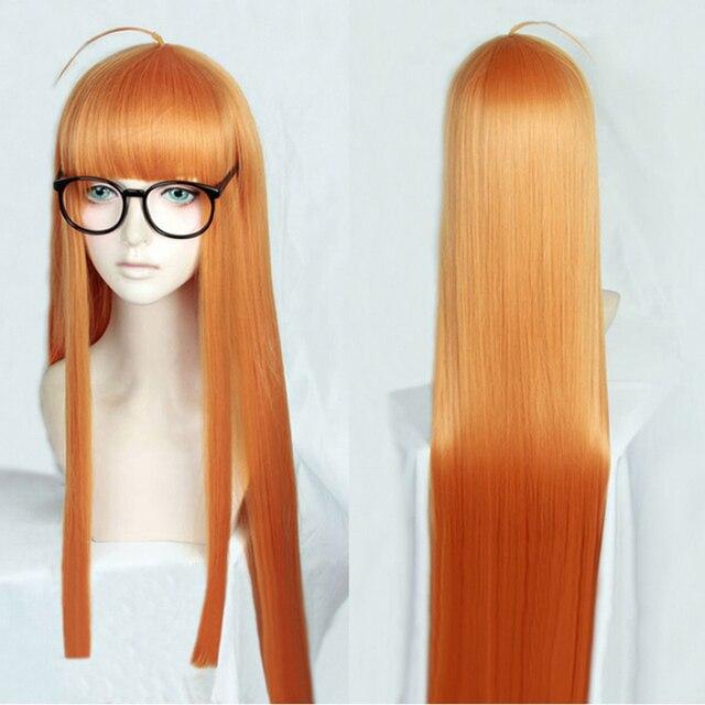 Perruque de Costume de Cosplay, perruque + piste + capuchon, lisse et longue de 100cm, P5 Persona5 Futaba Sakura, Orange résistante à la chaleur