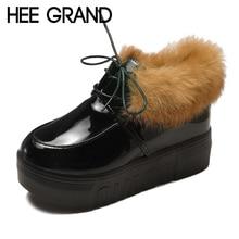 da4ec1246 HEE grande Rebanho Inverno Mulheres Ankle Boots Pele Do Falso Sapatos  Casuais Mulher Gladiador Plataforma dedo do pé Redondo Mul.