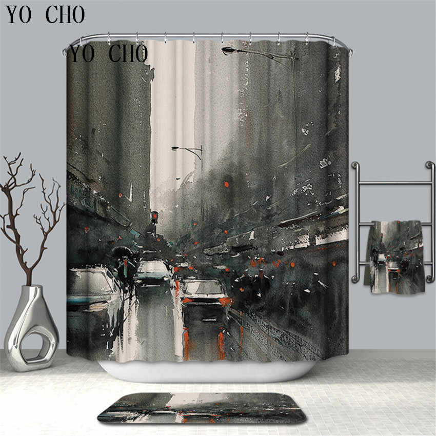 YO CHO 3D Oil Painting Waterproof Shower Curtain Polyester Fabric Bath Bathing Bathroom Curtains With Hooks For Home Decoration