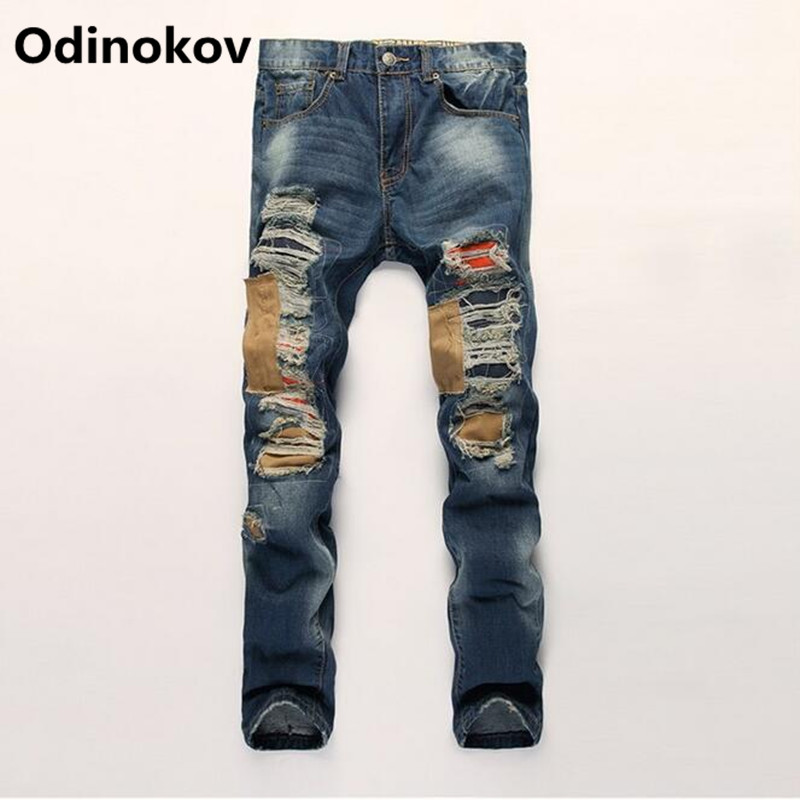 ФОТО Odinokov Brand 2017 Ripped patchwork Zipper Jeans For Men Skinny Distressed Slim Famous Brand Designer Biker HipHop