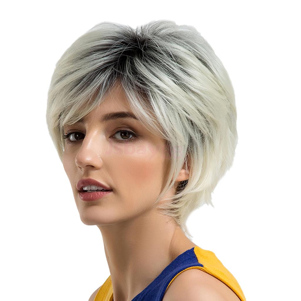 Women Natural Short Straight Side Part Wigs Synthetic Pixie Cut Wig Heat OK