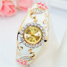 Women Brand Luxury Peacock Craft Bracelet Gold Dress Watch F