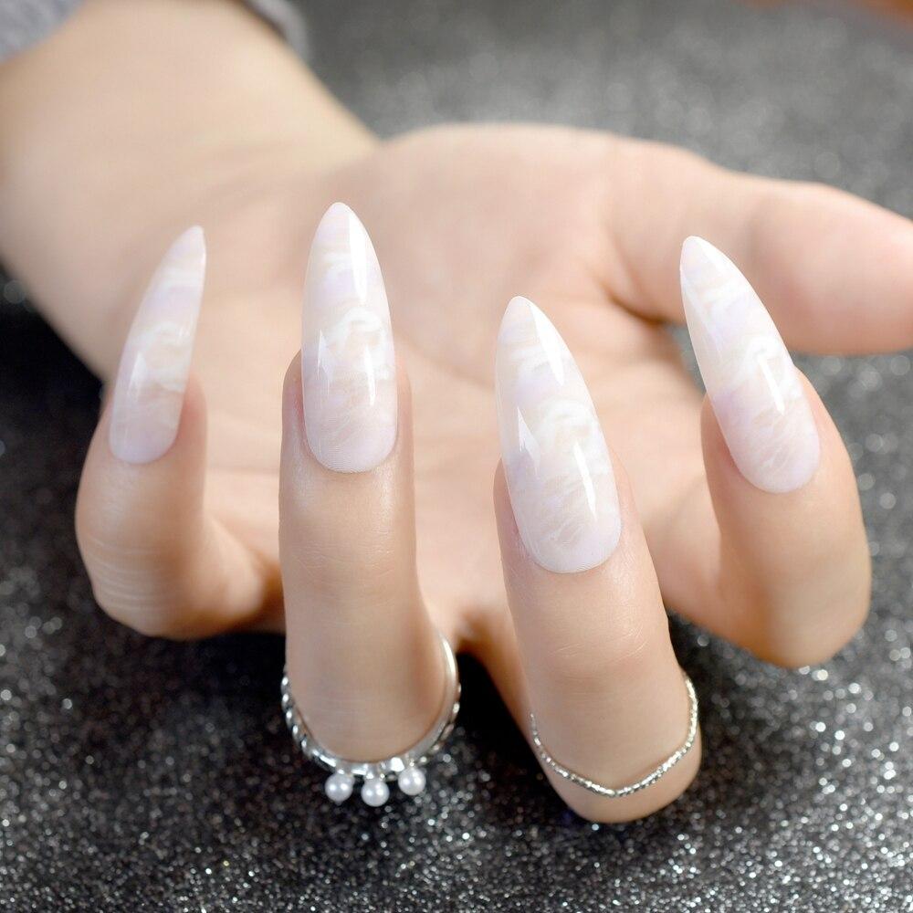 24 Stücke Gradienten Lange Stiletto Nails Marmor Muster Spitzen ...