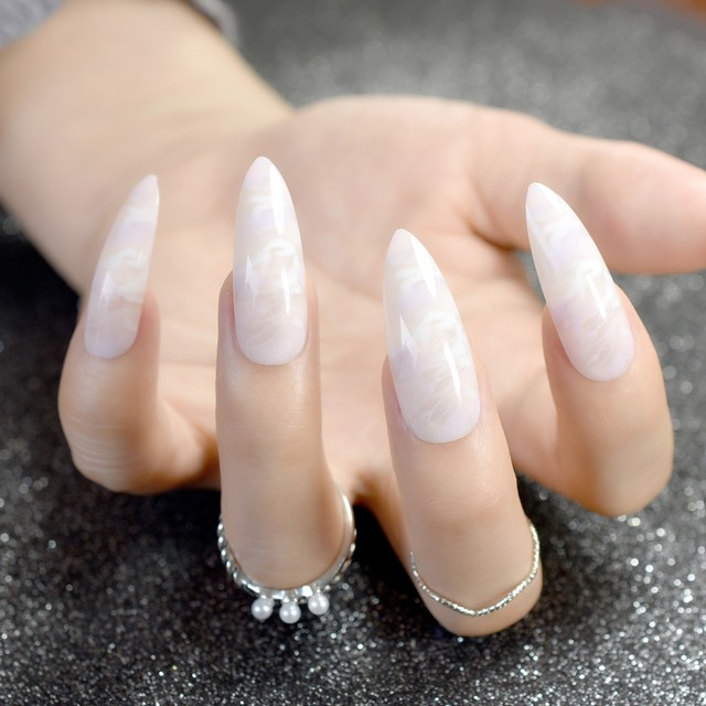 Awesome Long White Acrylic Nails Images - Nail Art Design Ideas ...