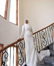 Champagne  High neck Long Sleeve Mermaid Bling Luxury Muslim Wedding dress long Sadi Arabic Brial gown