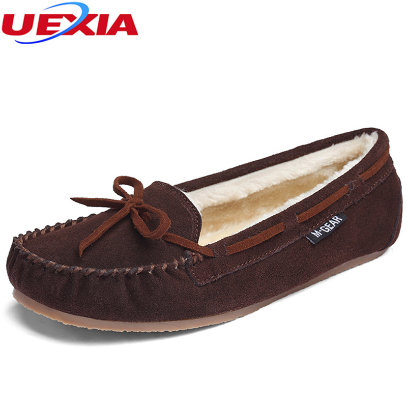 UEXIA Cow Leather Women Shoes Warm Moccasins Shoes Woman Bow tie Slip On Female Flats Fur Loafers Plush Winter Boat Shoe loafers jingkubu 2017 autumn winter women ballet flats simple sewing warm fur comfort cotton shoes woman loafers slip on size 35 40 w329
