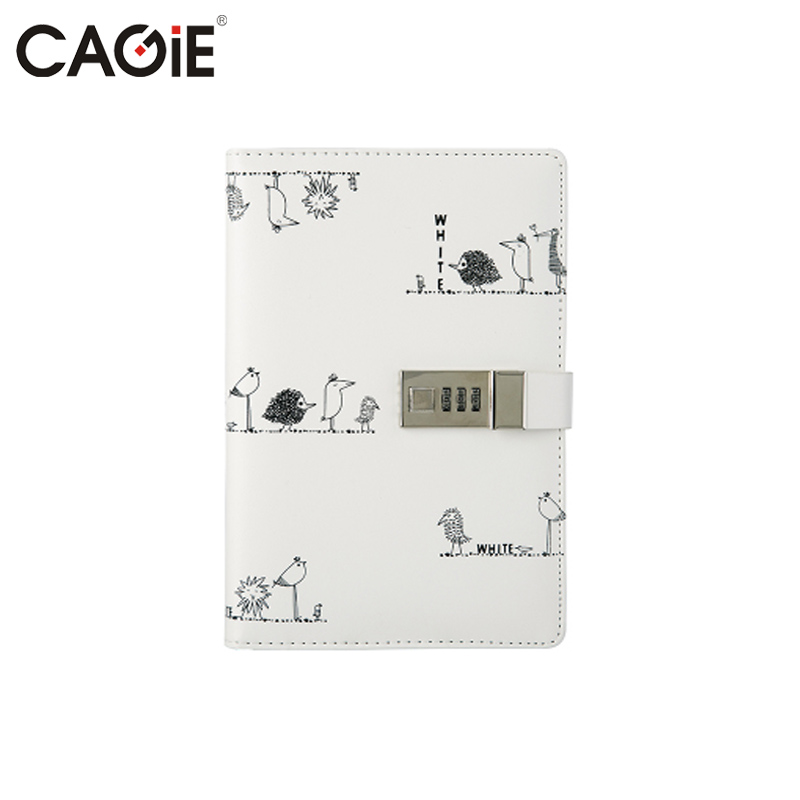CAGIE Brief Blalck&White Diary With Lock Notebook Fashion Creative Trends School Planner Agenda Travel Journal Diary Book sosw fashion anime theme death note cosplay notebook new school large writing journal 20 5cm 14 5cm