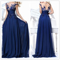 Vestidos Frete Grátis Preço Barato Boa Qualidade 2017 New Arrival Backless Lace Chiffon Azul Vestidos de Noite As Mulheres Se Vestem OL3102